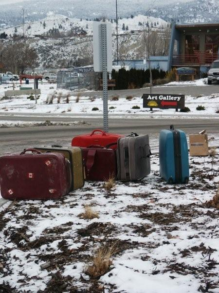 The suitcases that will surround Frank The Baggage Handler in the roundabout.