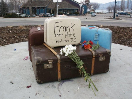 Suitcases left at the roundabout after Frank The Baggage Handler had been removed.  Please come home Frank.